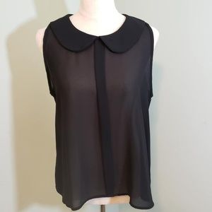 B Jewel Black Semi-Sheer Sleeveless Top